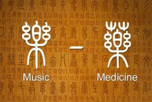 иероглифы музыка и лекарство