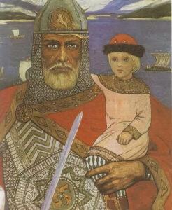 Князь Олег с Игорем, сыном Рюрика. Художник И. Глазунов